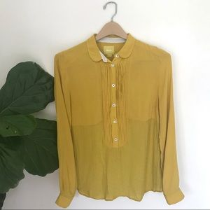 Anthropologie Maeve Mustard Collar Blouse!